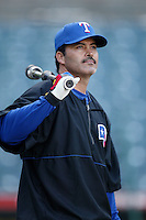Rafael Palmeiro of the Texas Rangers before a 2002 MLB season game against the Los Angeles Angels at Angel Stadium, in Los Angeles, California. (Larry Goren/Four Seam Images)