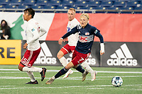FOXBOROUGH, MA - OCTOBER 16: Connor Presley #7 of New England Revolution II changes direction with the ball during a game between North Texas SC and New England Revolution II at Gillette Stadium on October 16, 2020 in Foxborough, Massachusetts.
