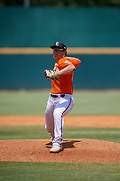 Tyson Neighbors (27) of Royse City High School in Rockwall, TX during the Perfect Game National Showcase at Hoover Metropolitan Stadium on June 20, 2020 in Hoover, Alabama. (Mike Janes/Four Seam Images)