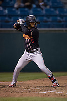 Modesto Nuts center fielder Anthony Jimenez (5) at bat during a California League game against the San Jose Giants at San Jose Municipal Stadium on May 15, 2018 in San Jose, California. Modesto defeated San Jose 7-5. (Zachary Lucy/Four Seam Images)