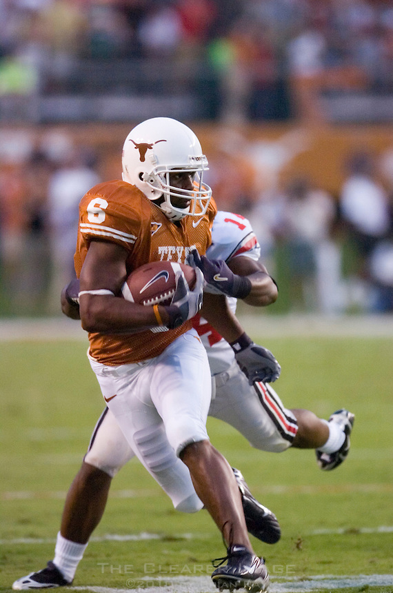09 September 2006: Texas receiver Quan Cosby beats an Ohio State defender down field during the Longhorns game against the Buckeyes at Darrell K Royal Memorial Stadium in Austin, TX.