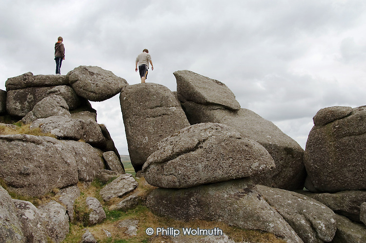 Young ramblers in the Dartmoor National Park