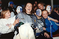 Pauline Cope of Millwall celebrates victory with the fans during Millwall Lionesses vs Wembley, FA Women's Cup Final Football at the New Den, Millwall FC on 4th May 1997