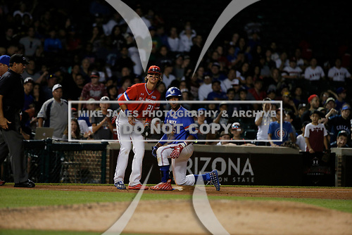 Blaze Alexander (21) of Bishop Verot High School in Cape Coral, Florida during the Under Armour All-American Game presented by Baseball Factory on July 29, 2017 at Wrigley Field in Chicago, Illinois.  (Mike Janes/Four Seam Images)