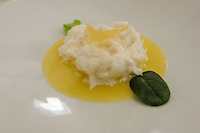 The appetizer of dried cod whipped in a citrus scented cauliflower cream € 18 at Pappagallo, Bologna. The Pappagallo Restaurant in Bologna was established in 1919. It continues to serve traditional Bolognese cuisine. Photo Sydney Low