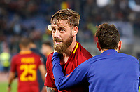 Roma s Daniele De Rossi, left, celebrates with his teammate Alessandro Florenzi at the end of the Italian Serie A football match between Roma and Lazio at Rome's Olympic stadium, 18 November 2017. Roma won 2-1.<br /> UPDATE IMAGES PRESS/Riccardo De Luca