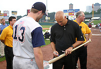 August 29, 2003:  Cal Ripken Jr. signs autographs after being inducted into the Rochester Red Wings Hall of Fame before an International League game at Frontier Field in Rochester, NY.  Photo by:  Mike Janes/Four Seam Images