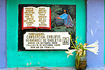 Colorful gravestones in a cemetery in San Juan La Laguan, Lake Atitlan, Guatemala