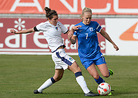 20180305 - LARNACA , CYPRUS : Italian Valentina Bergamaschi (left) pictured in a duel with Finnish Adelina Engman (right) during a women's soccer game between Finland and Italy , on monday 5 March 2018 at the AEK Arena in Larnaca , Cyprus . This is the third game in group A for Finland and Italy during the Cyprus Womens Cup , a prestigious women soccer tournament as a preparation on the World Cup 2019 qualification duels. PHOTO SPORTPIX.BE | DAVID CATRY