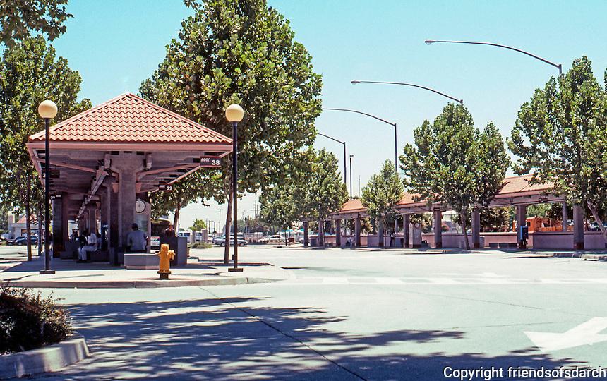 Mission RR Stations: Modesto Transportation Center, Modesto. Amtrak, Greyhound, City Buses & Stanislaus County Regional Transit. Photo 2000.