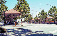 Mission RR Stations: Modesto Transportation Center, Modesto. Amtrak, Greyhound, City Buses & Stanislaus County Regional Transit. Photo 2000.