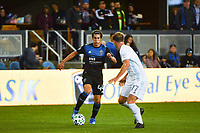SAN JOSE, CA - MARCH 7: Cade Cowell #44 of the San Jose Earthquakes is marked by Chase Gasper #77 of Minnesota United during a game between Minnesota United FC and San Jose Earthquakes at Earthquakes Stadium on March 7, 2020 in San Jose, California.