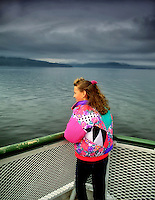 Young girl on San Juan Island ferry. Washington.