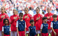 PARIS,  - JUNE 16: Lindsey Horan #9, Julie Ertz #8, Abby Dahlkemper #7, Morgan Brian #6 and Becky Sauerbrunn #4 stand for the national anthem during a game between Chile and USWNT at Parc des Princes on June 16, 2019 in Paris, France.