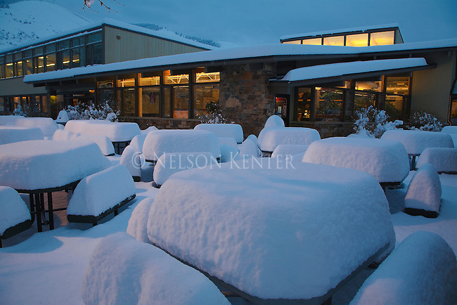 Snow covered tables on UM campus in Missoula, Montana right after a heavy snow fall