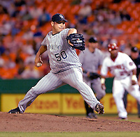 13 June 2006: David Cortes, pitcher for the Colorado Rockies, on the mound against the Washington Nationals at RFK Stadium, in Washington, DC. The Rockies defeated the Nationals 9-2 in the second game of the four-game series...Mandatory Photo Credit: Ed Wolfstein Photo..