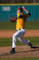 Kyle Jones (10) of the University of Toledo Rockets pitched five one-run innings in a game against the University of South Carolina Upstate Spartans on Saturday, February 20, 2021, at Cleveland S. Harley Park in Spartanburg, South Carolina. Upstate won, 5-1. (Tom Priddy/Four Seam Images)