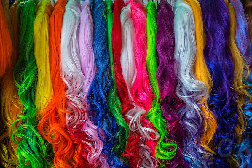 Extremely Colorful hair pieces at the Central Market in Phnom Penh, Cambodia