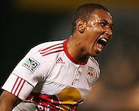 Juan Agudelo (17) of the New York Red Bulls  after scoring the fourth goal during an MLS match against D.C. United at RFK Stadium, in Washington D.C. on April 21 2011. Red Bulls won 4-0.