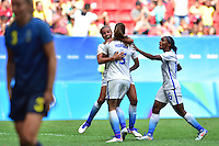 Brasilia, Brazil - Friday, August 12, 2016: The USWNT and Sweden are all even 1-1 from a goal by Alex Morgan in second half action during Quarterfinal play during the 2016 Olympics at Mane Garrincha Stadium.