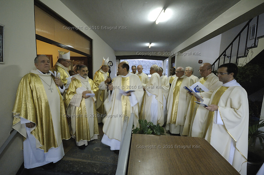 Father Esteban Kross explains last minute instructions to the Bishops and Pastors before the march start to ST. Petrus and Paulus Cathedral.....Blessing and First Worship of ST. Petrus and Paulus Cathedral (AKA World's largest wooden cathedral)