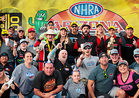 Feb 23, 2020; Chandler, Arizona, USA; NHRA top fuel driver Steve Torrence celebrates with crew and fans after winning the Arizona Nationals at Wild Horse Pass Motorsports Park. Mandatory Credit: Mark J. Rebilas-USA TODAY Sports