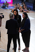 Skysport's Rikki Swannell interviews coaches Noeline Taurua and Tania Anderson (right) after the Cadbury Netball Series match between NZ Silver Ferns and NZ Men at the Fly Palmy Arena in Palmerston North, New Zealand on Thursday, 22 October 2020. Photo: Dave Lintott / lintottphoto.co.nz