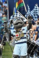 "KANSAS CITY, KS - JULY 31: Sporting KC mascot ""Blue"" during a game between FC Dallas and Sporting Kansas City at Children's Mercy Park on July 31, 2021 in Kansas City, Kansas."