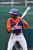 Junior outfielder Maleeke Gibson (1) of the Clemson Tigers in a fall practice intra-squad Orange-Purple scrimmage on Sunday, September 27, 2015, at Doug Kingsmore Stadium in Clemson, South Carolina. (Tom Priddy/Four Seam Images)