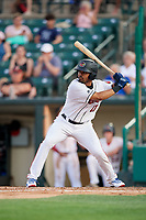 Rochester Red Wings right fielder LaMonte Wade (11) at bat during a game against the Lehigh Valley IronPigs on June 30, 2018 at Frontier Field in Rochester, New York.  Lehigh Valley defeated Rochester 6-2.  (Mike Janes/Four Seam Images)