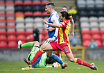 Partick Thistle v St Johnstone…28.10.17…  Firhill…  SPFL<br />Tomas Cerney saves at the feet of Michael O'Halloran<br />Picture by Graeme Hart. <br />Copyright Perthshire Picture Agency<br />Tel: 01738 623350  Mobile: 07990 594431