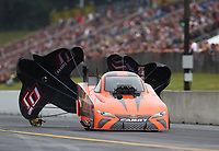 Sep 14, 2019; Mohnton, PA, USA; NHRA funny car driver Mike McIntire Jr during qualifying for the Reading Nationals at Maple Grove Raceway. Mandatory Credit: Mark J. Rebilas-USA TODAY Sports