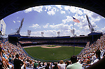 DETROIT - JULY 14:  A general view of Tiger Stadium from the outfield seats as the Detroit Tigers host the Kansas City Royals on July 14, 1991 in Detroit, Michigan. The Royals won 18-4.  (Photo by Rich Pilling)