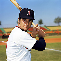 Boston Red Sox Carl Yastrzemski (8) poses for a photo during Spring Training circa 1974 at Chain of Lakes Park in Winter Haven, Florida.  (Brearley Collection/Four Seam Images)