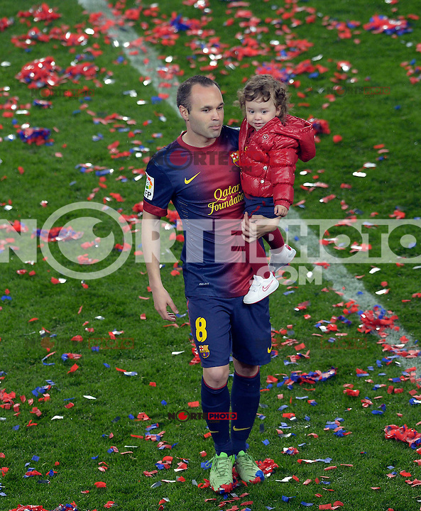 MAY 19 2013.FC Barcelona celebration the title champions of LA LIGA during a Spanish La Liga soccer match at Camp Nou stadium in Barcelona, Sunday, May 19, 2013.Non Exclusive.Mandatory Credit: OHPIX.COM..Ref: OH_MAN..note: same frames in others agencies