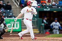 Matt Adams #53 of the St. Louis Cardinals follows through his swing after making contact on a pitch during a game against the Tulsa Drillers at Hammons Field on May 4, 2013 in Springfield, Missouri. Adams was on a four game rehab assignment in Springfield. (David Welker/Four Seam Images)