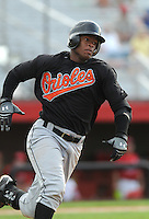 August 1, 2009: Catcher Dashenko Ricardo (44) of the Bluefield Orioles, rookie Appalachian League affiliate of the Baltimore Orioles in a game at Howard Johnson Field in Johnson City, Tenn. Photo by: Tom Priddy/Four Seam Images