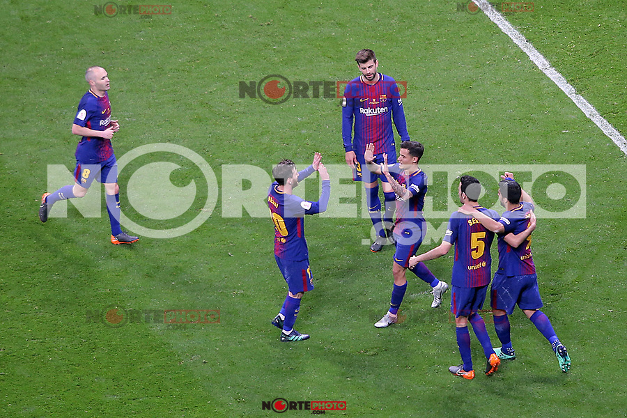 FC Barcelona's Andres Iniesta, Leo Messi, Gerard Pique, Philippe Coutinho, Sergio Busquets and Luis Suarez celebrate goal during Spanish King's Cup Final match. April 21,2018. (ALTERPHOTOS/Acero)
