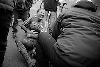 Chiara Teocchi (ITA) in serious pain after finishing<br /> <br /> Elite Women's Race<br /> <br /> 2015 UCI World Championships Cyclocross <br /> Tabor, Czech Republic