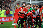 UEFA EURO 2016 Qualifier match between Wales and Andorra at Cardiff City Stadium in Cardiff : <br /> Jonathan Williams strokes the beard of team mate Joe Ledley as the team celebrate together after the game.