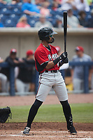 Freddy Zamora (23) of the Carolina Mudcats at bat against the Kannapolis Cannon Ballers at Atrium Health Ballpark on June 13, 2021 in Kannapolis, North Carolina. (Brian Westerholt/Four Seam Images)