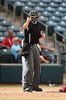 Umpire Shaun Lampe during an Arizona Fall League game between the Mesa Solar Sox and Peoria Javelinas on October 15, 2014 at Surprise Stadium in Surprise, Arizona.  Mesa defeated Peoria 5-2.  (Mike Janes/Four Seam Images)