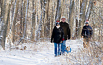 WOODBURY, CT-122517JS06---Mary Carrai of Cape Cod, Ed Cole and Gaston Barrett, both of Woodbury, and their dog Stella, enjoy the freshly fallen snow and take a hike through the Trolley Bed Preserve in Woodbury on Monday. <br /> Jim Shannon Republican-American