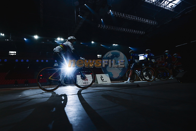 World Champion Julian Alaphilippe (FRA) Deceuninck-Quick Step at the team presentation before the 2021 Flèche-Wallonne, running 193.6km from Charleroi to Huy, Belgium. 21st April 2021.  <br /> Picture: A.S.O./Aurélien Vialatte | Cyclefile<br /> <br /> All photos usage must carry mandatory copyright credit (© Cyclefile | A.S.O./Aurélien Vialatte)