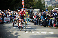 race leaders led by Thomas De Gendt (BEL/Lotto-Soudal) in the first ascent up the infamous Mur de Huy (1300m/9.8%)<br /> <br /> 79th Flèche Wallonne 2015