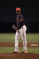 AZL Giants Black relief pitcher Abel Adames (35) prepares to deliver a pitch during an Arizona League game against the AZL Athletics at the San Francisco Giants Training Complex on June 19, 2018 in Scottsdale, Arizona. AZL Athletics defeated AZL Giants Black 8-3. (Zachary Lucy/Four Seam Images)