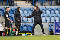 Harry Kewell, Manager of Oldham, questions a decision with the fourth officials during Colchester United vs Oldham Athletic, Sky Bet EFL League 2 Football at the JobServe Community Stadium on 3rd October 2020