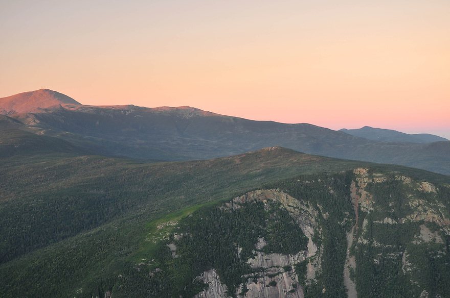 An interesting view of the massive cliffs on Mt. Webster, with Mts. Jackson and Washington behind.