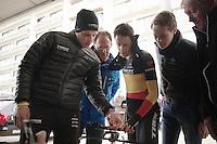Jasper Stuyven (BEL) checking in on Kristof Vandewalle's (BEL) SRM data<br /> <br /> 3 Days of West-Flanders 2014<br /> day 1: TT/prologue Middelkerke 7,0 km
