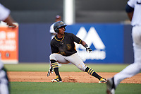Bradenton Marauders third baseman Ke'Bryan Hayes (31) is caught in a rundown during the first game of a doubleheader against the Tampa Yankees on April 13, 2017 at George M. Steinbrenner Field in Tampa, Florida.  Bradenton defeated Tampa 4-1.  (Mike Janes/Four Seam Images)